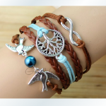 The ancient silver two birds with big trees romantic password Hand-knitted leather cord multi-layer bracelet