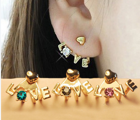 Chic LOVE diamond earring stud FSEH303 (colors send out by randomly)