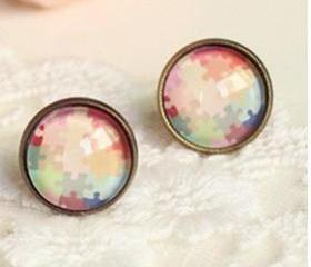 Color candy color puzzle time earrings