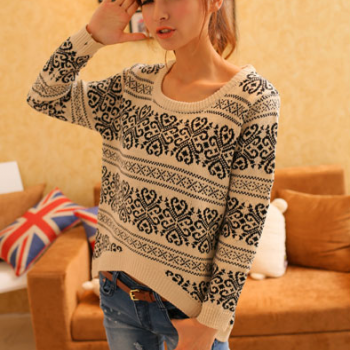 Retro snowflake pullover loose knitted sweater coat