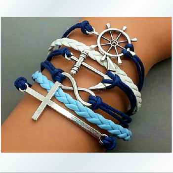 The ancient silver anchor rudder Cross romantic password Hand-knitted leather cord 6-layer bracelet